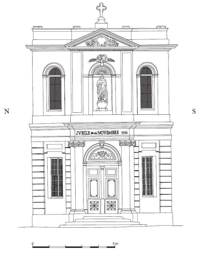 Chapelle des Pénitents bleus, élévation extérieure ouest