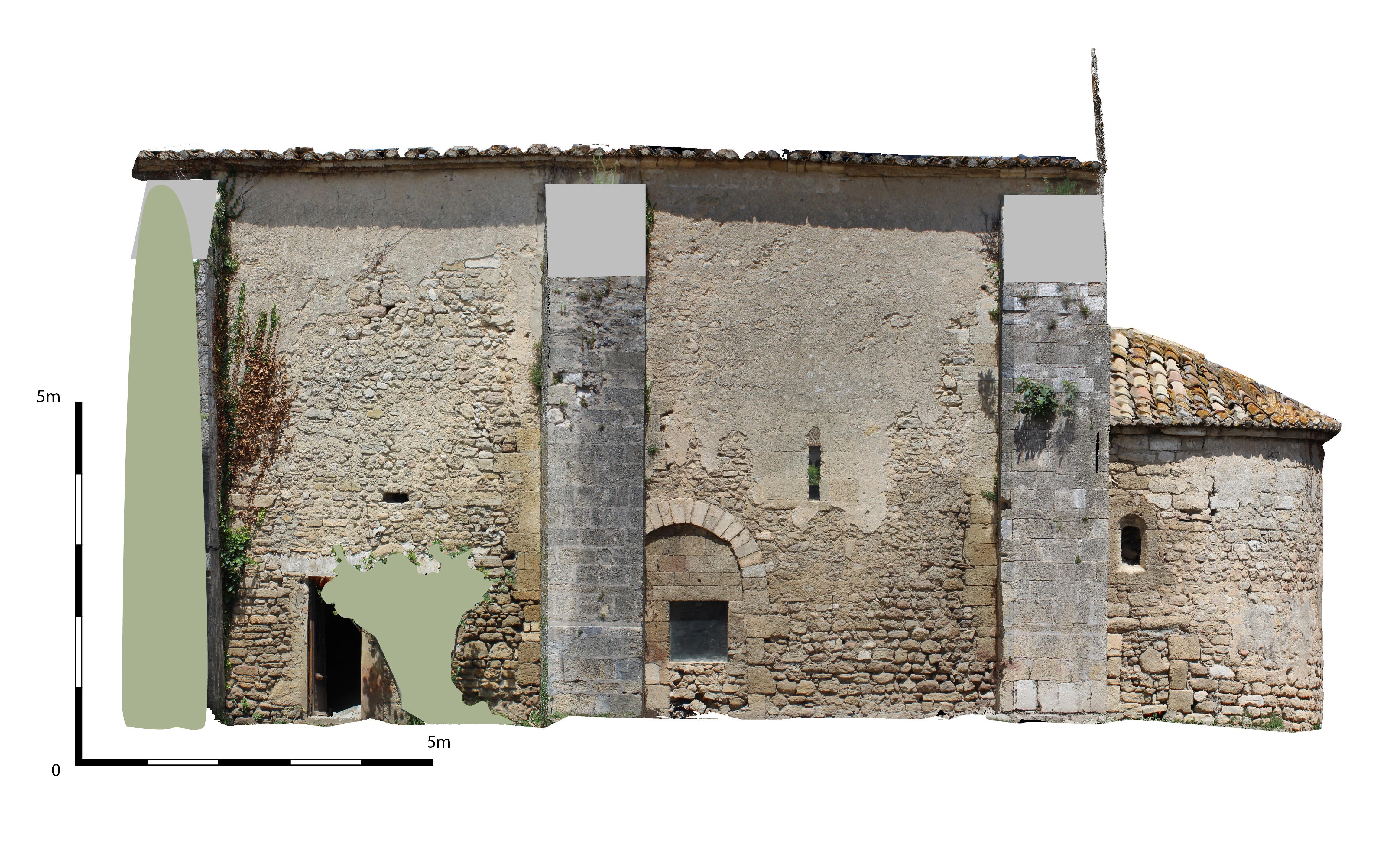 Orthophotographie du mur sud de la chapelle Saint-Andéol de Velorgues - Cepam (CNRS-UMR 7264)