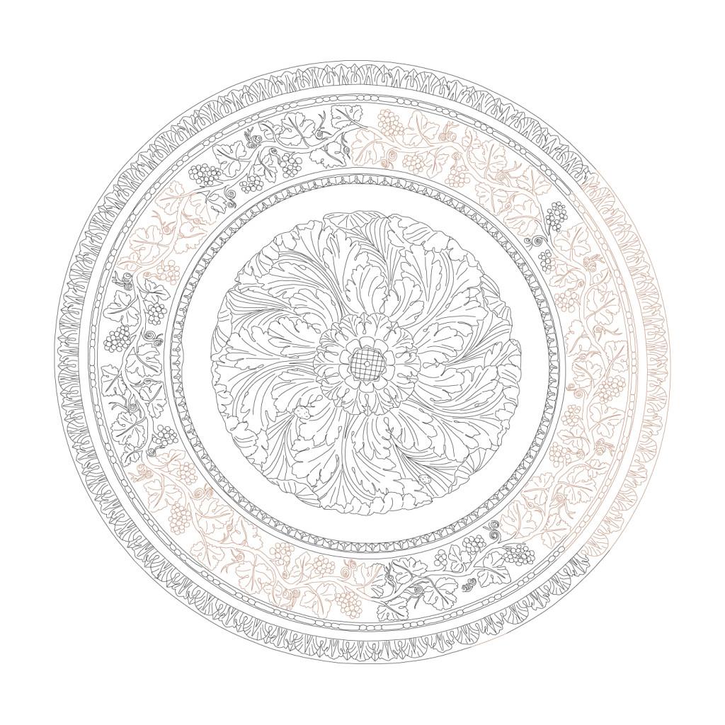 Restitution de la rosace centrale du plafond en plâtre